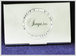 A laser etched business card holder.