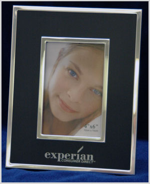 Laser engraved metal photo frame.