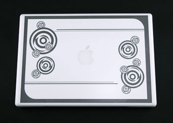 MacBook engraved with a fiber laser.