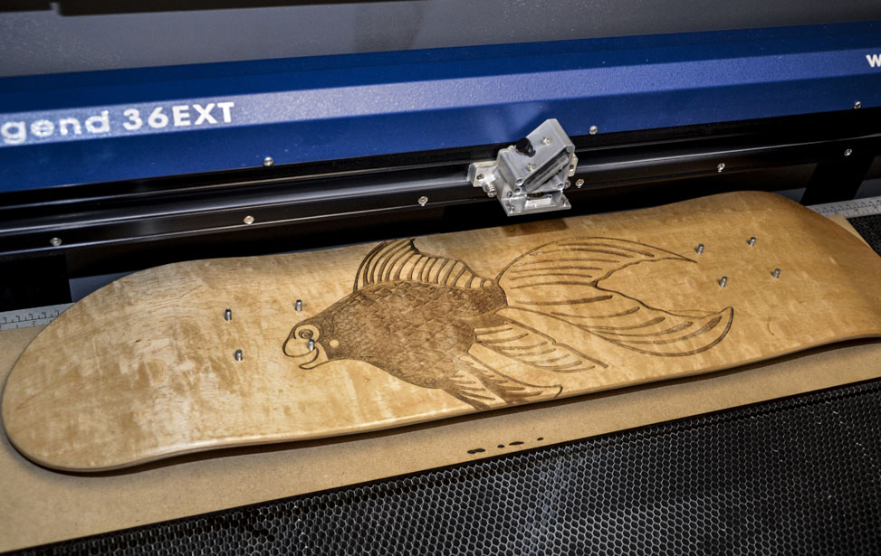 skateboard engraving in the laser.